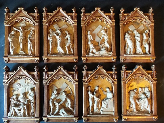 Antique French Plaster Station Of The Cross Religious Wall