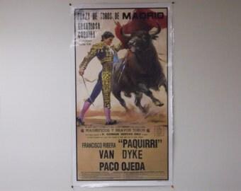 "Vintage Original Madrid Bullfighting Poster with TYPO, Francisco Rivera ""Paquirri"" Sealed"