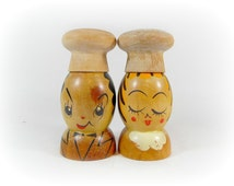 Mid Century Wood Salt and Pepper Shakers People Anthropomorphic Salty and Peppy Retro 1950s Diner Kitchen Woodpecker Woodware Gifts for Chef