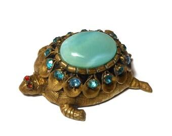 1920s Bohemian turtle brooch, marked Czecho, Gablonz style blue glass, blue rhinestone crystals, brass body, ruby rhinestone eyes