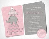 Pink Elephant Baby Shower Invitation - DIY Printable
