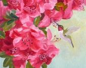 Hummingbird Art Print Pink Azalea Flowers Garden Decor Bird Pictures by Janet Zeh