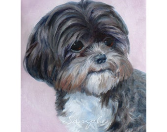 11x14 Dog Portrait Custom Painting from Your Photos in Watercolor or Oil by Janet Zeh
