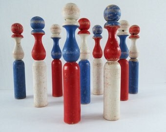 French Vintage Wooden Skittles, Red White and Blue....Nursery Decoration....Playroom Decoration.....
