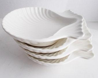 Vintage Shell Dishes Set of 4 Coastal Beach White Glazed Pottery Bowls
