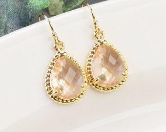 Blush Champagne Earrings - Gold Peach Champagne Bridesmaid Earrings - Peach Blush Earrings - Glass Drop Earrings - Crystal Wedding Earrings