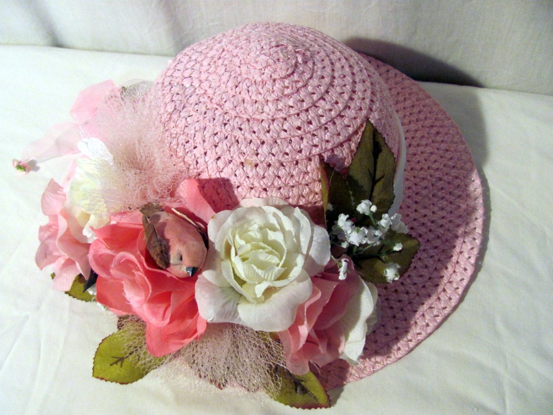 elegant tea party hat dress up play hat for little by anndances. Black Bedroom Furniture Sets. Home Design Ideas