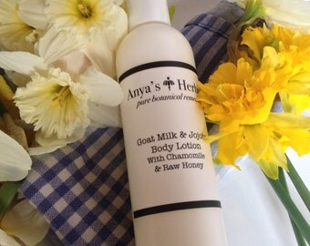Liquid Sunshine: Organic Jojoba Goat Milk Lotion with Chamomile Calendula and Raw Honey, Organic Body Lotion, 4 ounces