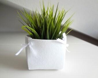 White felt basket for wedding decorations