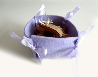 Purple felt basket for pot pourri