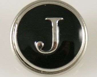 1 PC 18MM Letter J Black Enamel Alphabet Silver Candy Snap Charm Kb1260 Cc0233