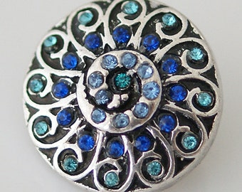1 PC 18MM Blue Swirl Silver Candy Snap Charm kb8052 CC0359