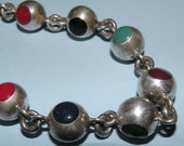 Sterling and Stones Mexican Bracelet
