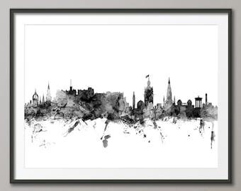 Edinburgh Skyline, Edinburgh Scotland Cityscape Art Print (1428)