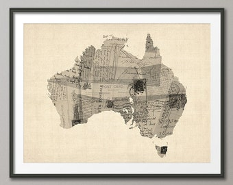 Old Postcard Map of Australia Map, Art Print (1482)