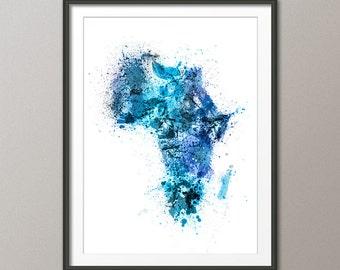 Africa Map Paint Splashes, Art Print (1517)