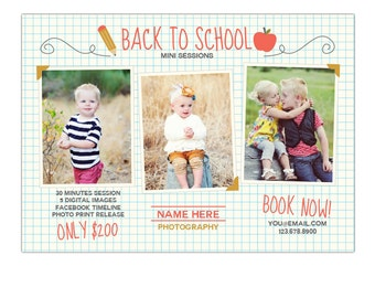 INSTANT DOWNLOAD - Back to School - Photography Marketing board - Psd template - E890