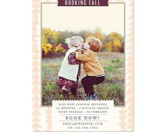 INSTANT DOWNLOAD - Fall Mini Session template - Photoshop template - E1095