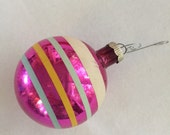 Christmas Ornament Vintage Shiny Brite Striped Hot Pink with Stripes Made in USA