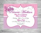Custom Printed Princess Birthday Girl Invite. Great for Any Age.