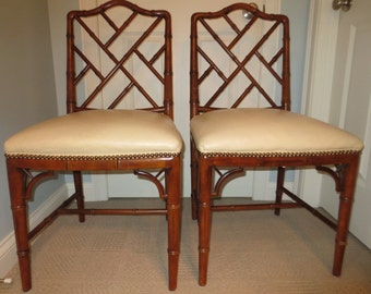 Chinese Chippendale Faux Bamboo Side Chairs S2