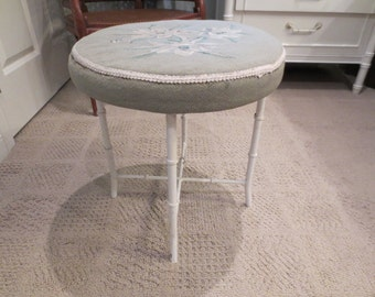 Faux bamboo cast aluminum needlepoint stool