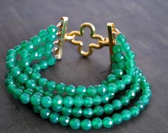 5 STRAND GREEN AGATE clover bracelet