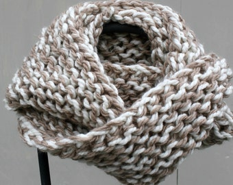 """Outlander Inspired Chunky Hand Knit Infinity Scarf """"Winter Wheat"""" Cream and Taupe"""