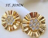 St John Earrings Rhinestone Clip On NOS