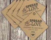 FREE SHIPPING: Pack of 50 Spread the Love Customized Jam Wedding Favor Tags on Kraft Cardstock