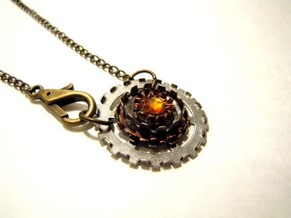 Steampunk Necklace with Wire Work and Gear Flower Pendant