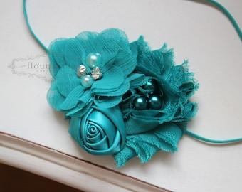 Teal headband, basic headbands, newborn headbands, flower headbands, rosette headbands, photography prop