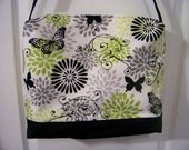 "Handmade Purse 14""x10""x3"" Solid Black Bottom Black Butterflies Zipper Top Closure"