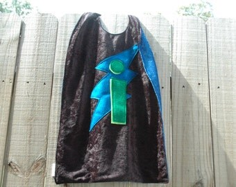Intense Initial Cape, BLACK and BLUE, Super Kid Cape, Personalized Cape
