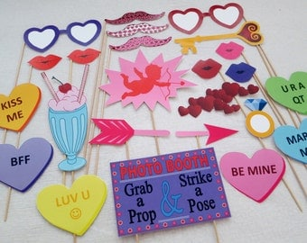 PDF - Valentine's Day photo booth props/decorations/craft - printable DIY