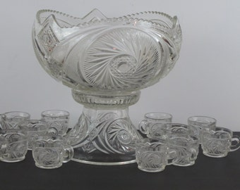 LE Smith Aztec Patterned Punch Bowl with Stand and 11 Cups