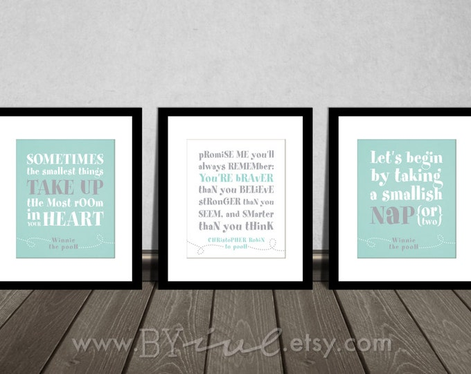 Winnie the Pooh quotes, You are BRAVER than you believe, Nap time, Baby girl gift, Soft Aqua Gray Neutral colors. Nursery DIY Printable.