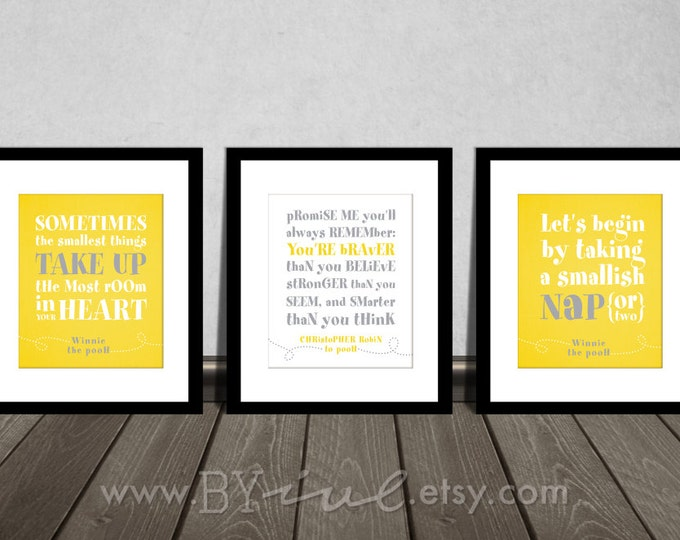 Winnie the Pooh quotes, You are BRAVER than you believe, Nap time, Yellow Gray, Neutral colors. Downloadable. Print it yourself.