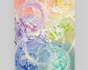 "Original Abstract Acrylic Painting, Original Abstract Art, Acrylic Painting by Ora Birenbaum, Centrifugal Force 30x48x1.5"""