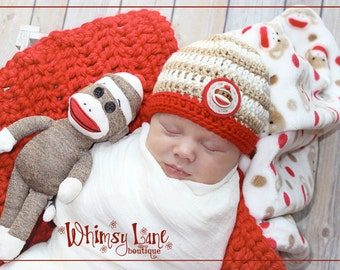 Newborn Sock Monkey Hat - Striped Hat - Baby Boy-Photo Prop