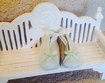 Mint Green Felted Wool Baby Booties with Gingham Green Ribbon Bow Trim