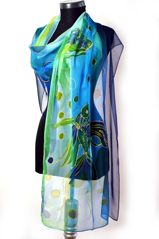 painted silk scarf painting on silk silk scarf silk