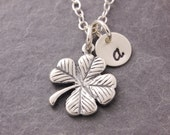 Four Leaf Clover Necklace, shamrock necklace, lucky symbol, lucky charm, personalized jewelry, initial necklace, clover necklace, N6