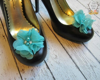 Teal Shoe Clips - Bridal Shoe Clips - Flower Girl -  Chiffon Flower Shoe Clips. Wedding Bride Bridesmaid Flower Girl Pearl Rhinestone Bridal