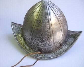 Unique Metal Warrior Medieval Helmet Headpiece c 1970