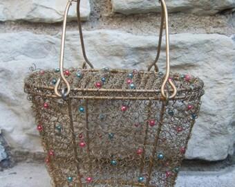 Unique Gilt Metal Coiled Wire Beaded Handbag