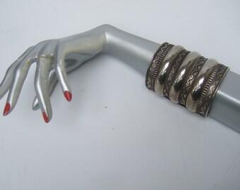 Massive Silver Metal Wide Cuff Bracelet