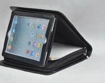 leather ipad portfolio as well as iPad1  iPad2  ipad 3 or iPad Air  ipad pro 9.7'' leather portfolio folio in black for business or birthday