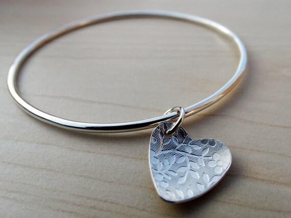 Silver Heart Bangle - Flower Pattern Heart - Sterling Silver