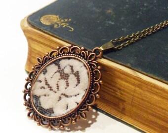 Vintage Lace Pendant Necklace, Antique Lace Textile Jewelry, Fabric Floral Flower Statement Necklace